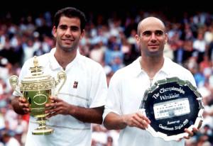 WIMBLEDON, UNITED KINGDOM - JULY 05: WIMBLEDON 1999, Maenner FINALE, London; Sieger Pete SAMPRAS/USA, Zweiter Andre AGASSI/USA (Photo by Mark Sandten/Bongarts/Getty Images)